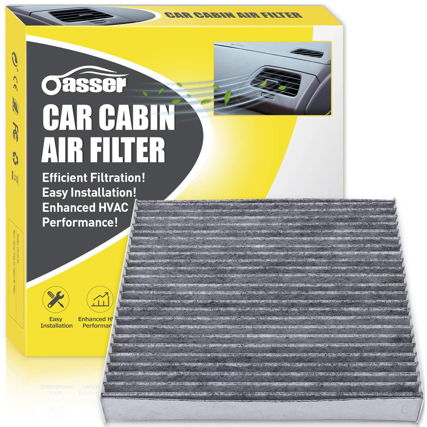 Oasser Cabin Air Filter OF134 CF10134 Replacement with Activated Carbon for Honda//Acura