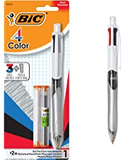 BiC 4-Color 3+1 Ball Pen and Pencil, Medium Point, 0.7mm Lead, Assorted, 1 Pack