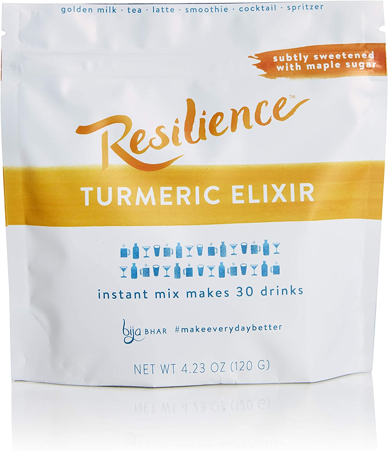Bija Bhar Resilience Turmeric Elixir, Subtly Sweetened Golden Milk Drink Mix, 30 Servings, 4.23 Ounce Pouch