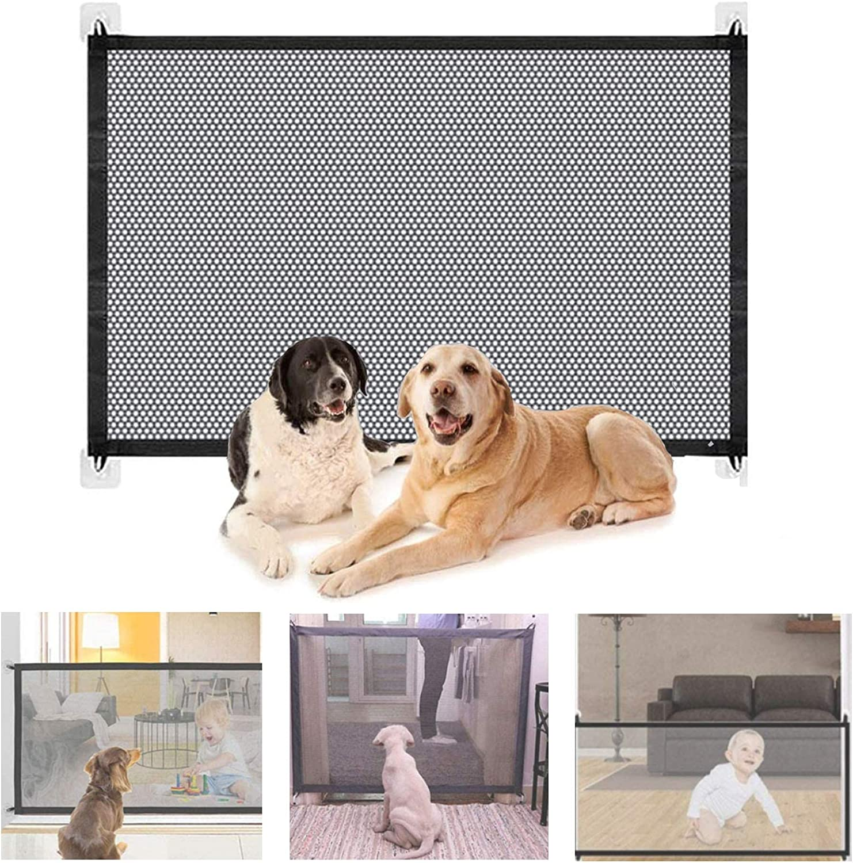 Bibykivn Puerta Mágica para Perro,Puerta Mágica para Mascotas o Bebés Barrera Seguridad Perros,Portón Portátil y Plegable Magic Gate Dog,para en Escaleras en Interiores y Exteriores (L 180x70CM)
