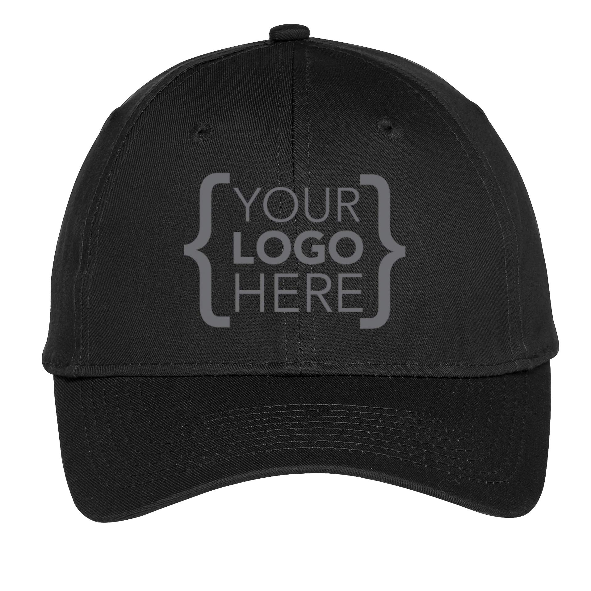 Custom Promotional Mens Womens Six-Panel Unstructured Twill Cap Hook and Loop Closure with Your Own Embroidered Logo (24 Caps/Black)