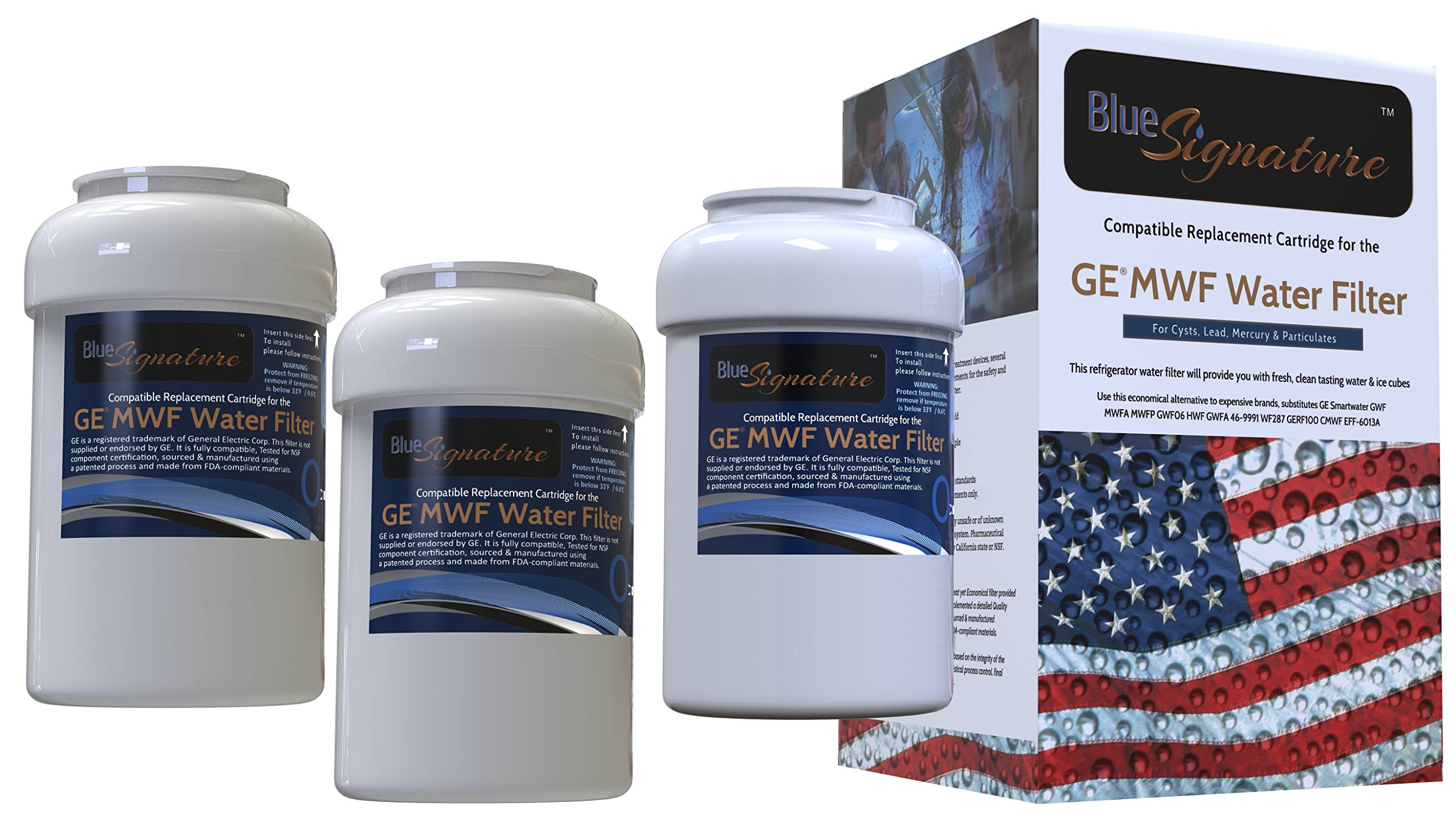 3 Pack GE MWF Refrigerator Water Filter Smartwater Compatible
