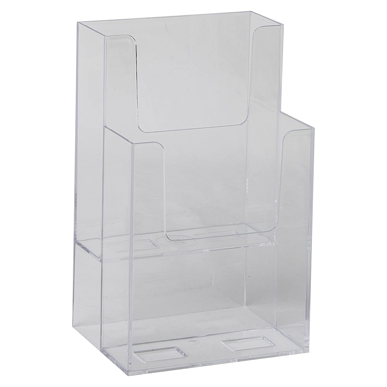Amazon Clear Ad LHF S102 Acrylic Slant Back 2 Tier Trifold Brochure Display Plastic Literature Holder for Flyers Booklets Bills Mail