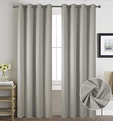 JZIALFPC Full Blackout Linen Curtain Panel