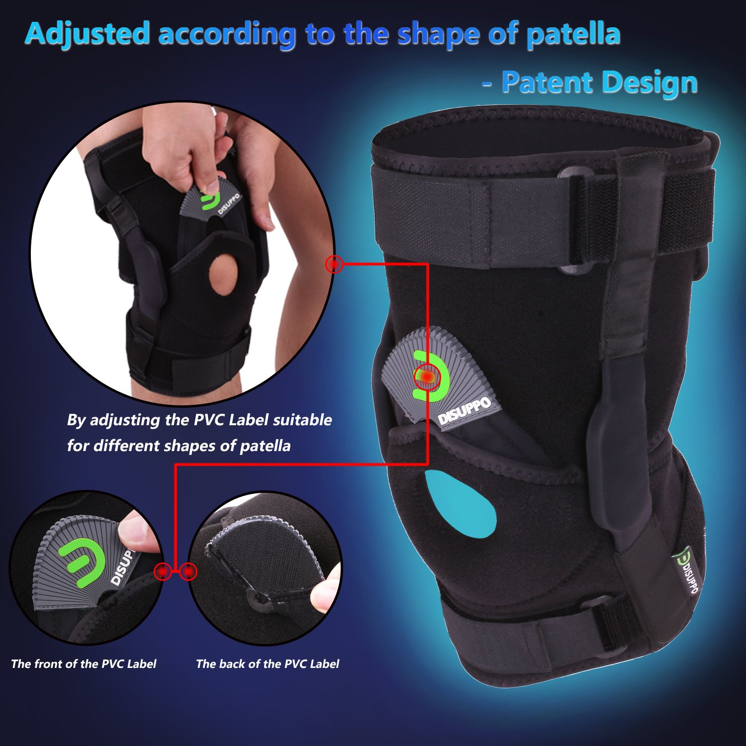 af035733c6 Amazon.com: Dual Hinged Knee Brace Open Stabilized Patella Adjustable  Support for Sports Trauma, Sprains, Arthritis, ACL, Meniscus Tears,  Ligament Injuries ...