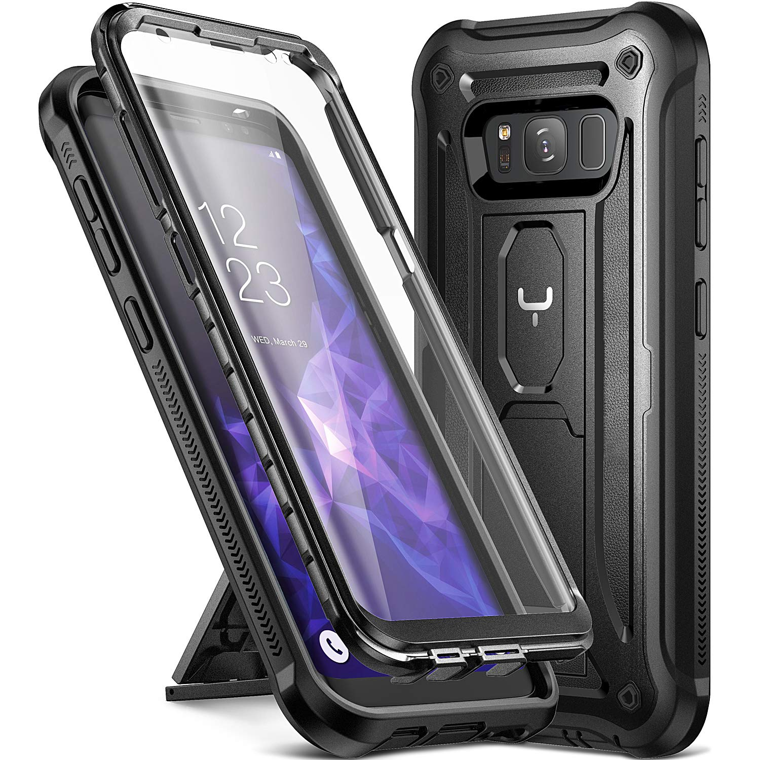 cheaper 1e078 c519b YOUMAKER Kickstand Case for Galaxy S8, Full Body with Built-in Screen  Protector Heavy Duty Protection Shockproof Rugged Cover for Samsung Galaxy  S8 ...