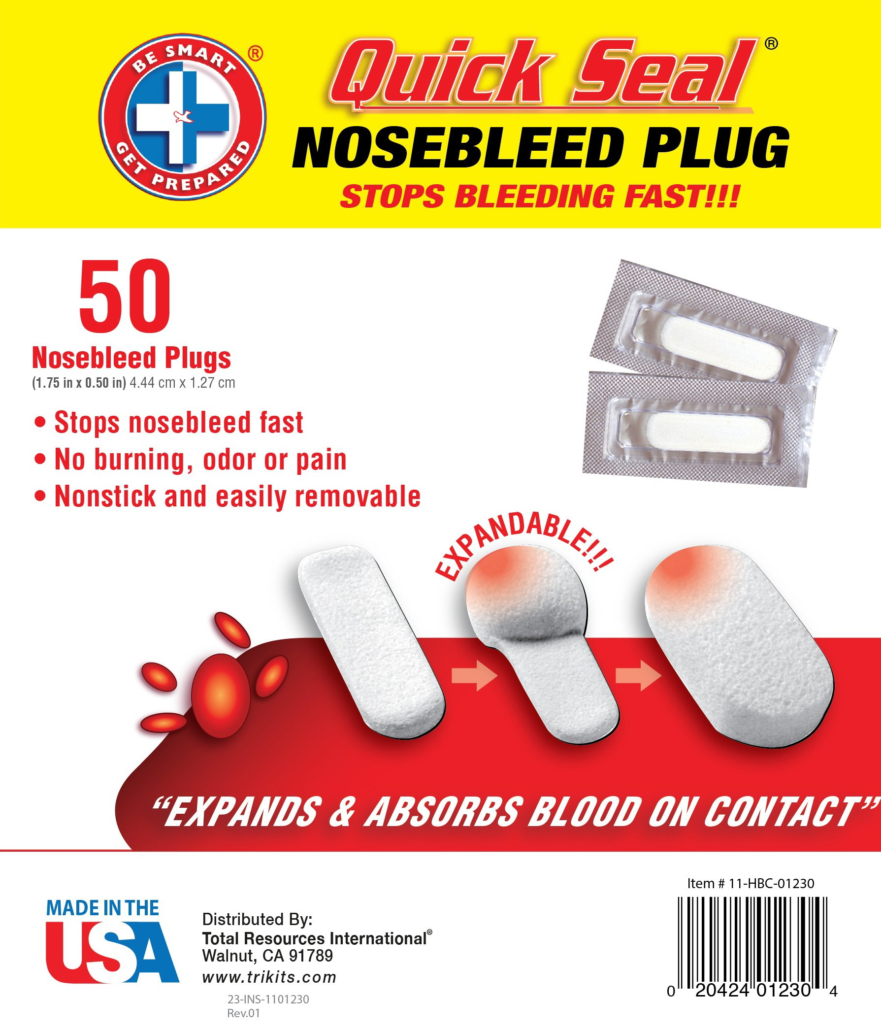 Be Smart Get Prepared Quick Seal Nosebleed Plugs, 50 Count