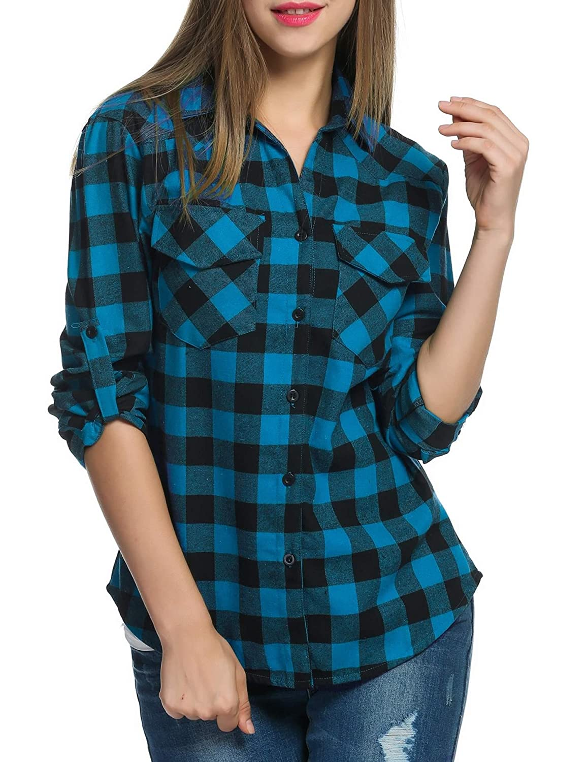 6ee9d28d Feature: Turn-Down Collar, Long Sleeve, Plaid Pattern, Button Down Shirt.Wrinkle-Resistant,  Button up Closure, Casual Loose Fit, Boyfriend Style .