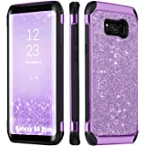 Galaxy S8 Plus Case Glitter, BENTOBEN Bling Luxury Sparkly Hybrid Hard PC Laminated with Shiny Faux Leather Chrome Shockproof Bumper Protective Phone Case for Samsung Galaxy S8 Plus(6.2 inch), Purple