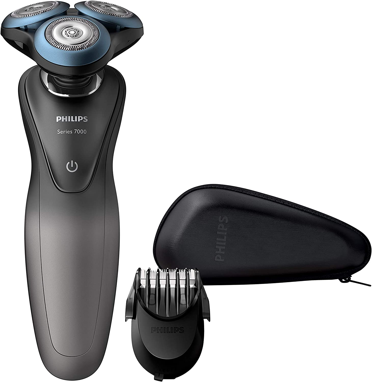 Philips Serie 7000 S7960/17 - Máquina de afeitar con cuhillas confort para la piel sensible, uso en seco/húmedo, 50 min de batería, incluye perfilador de barba y funda de viaje, color gris/negro