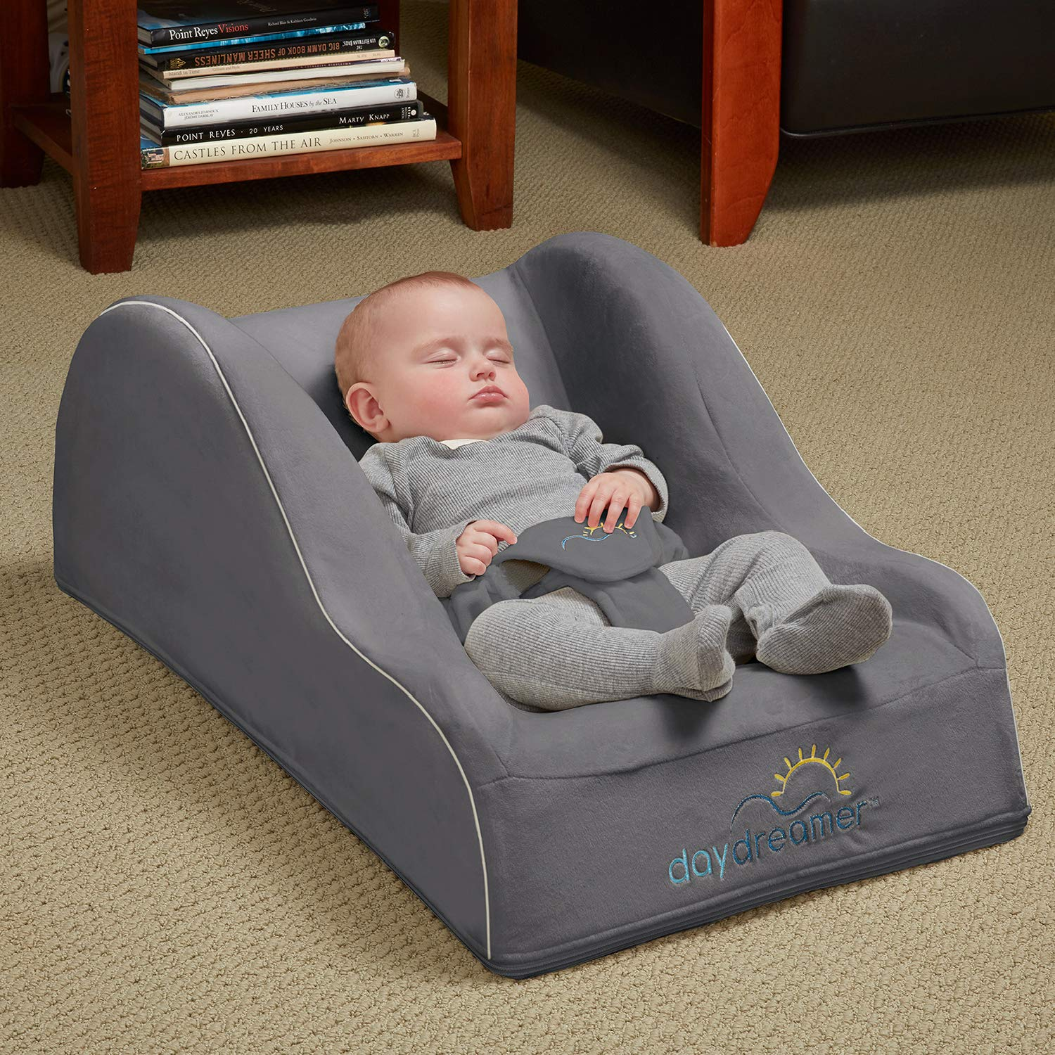 hiccapop Day Dreamer Sleeper Baby Lounger Seat for Infants - Travel Bed - Bassinet Alternative, Charcoal Gray by hiccapop (Image #1)