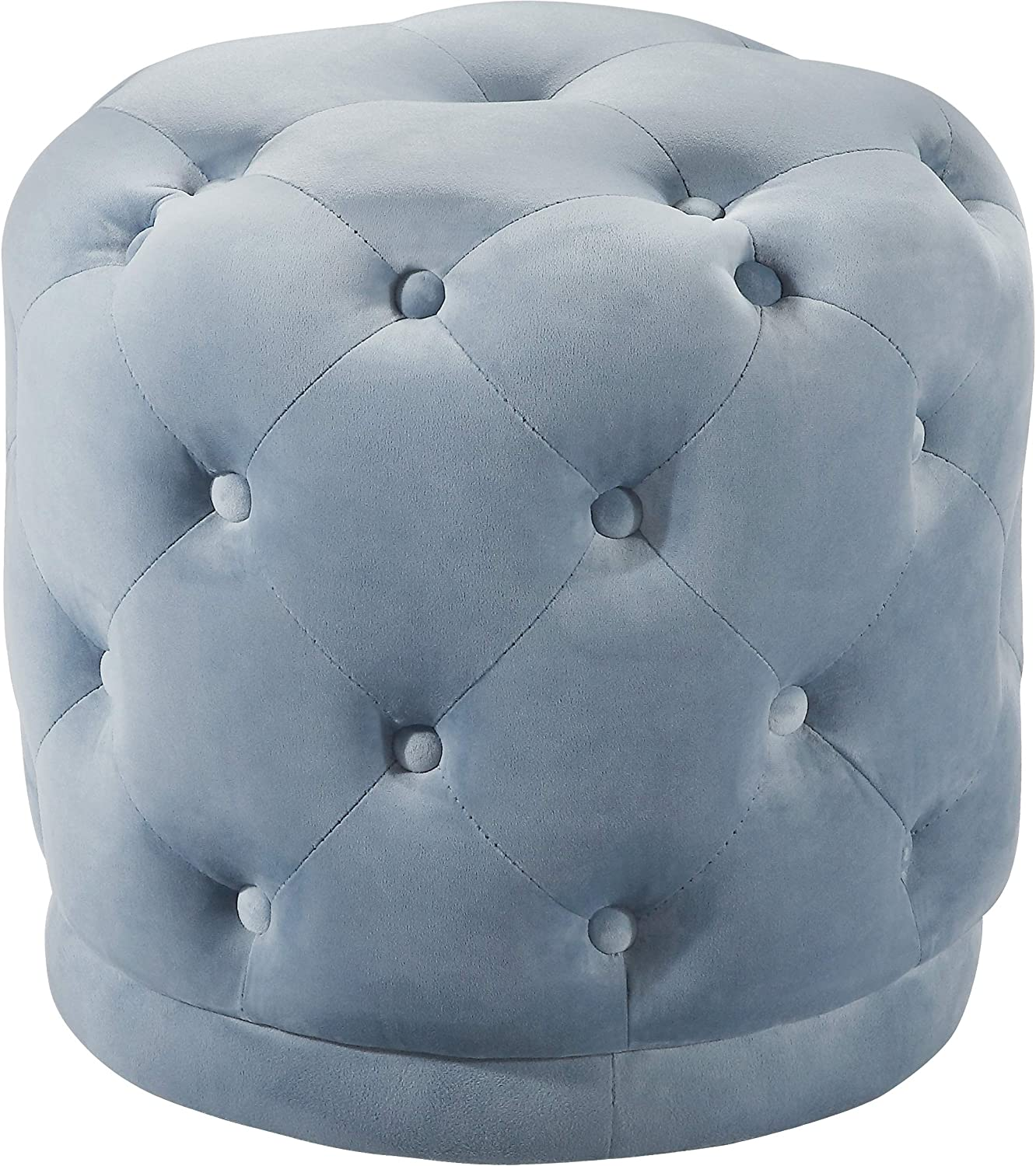 Meridian Furniture Harper Collection Modern | Contemporary Velvet Upholstered Ottoman / Stool with Deep Button Tufting, Solid Wood Frame, Sky Blue, 18