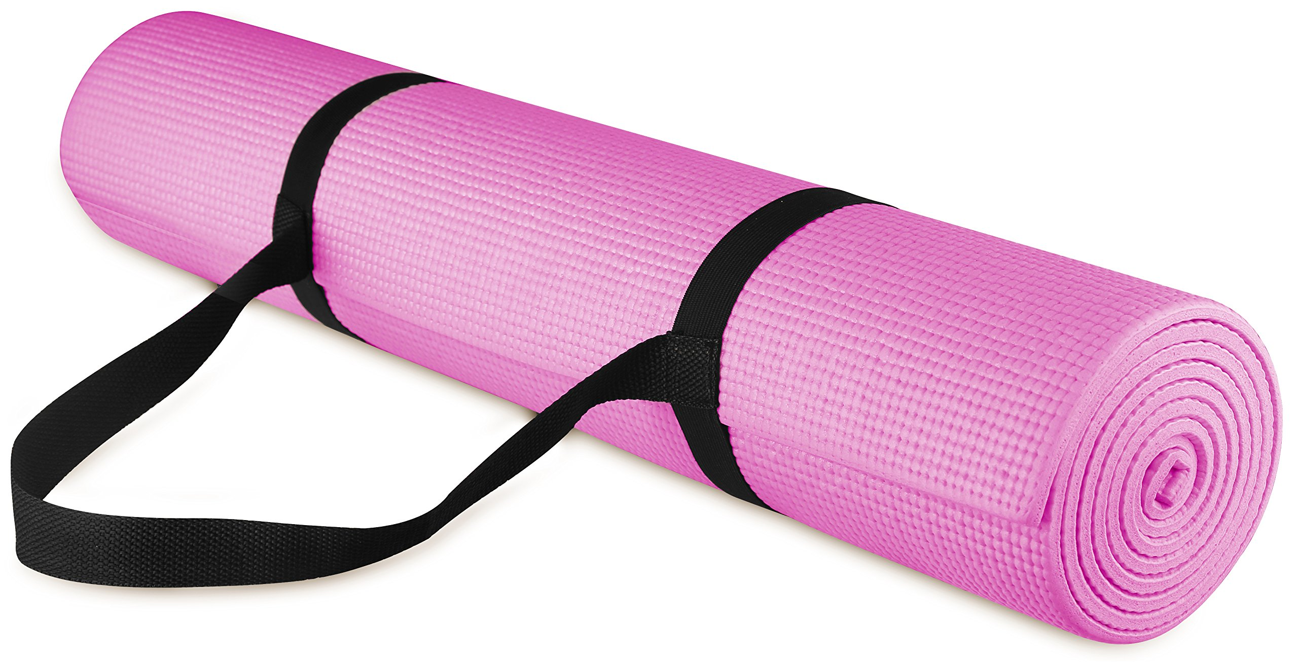 BalanceFrom GoYoga All Purpose High Density Non-Slip Exercise Yoga Mat with Carrying Strap, 1/4'', Pink