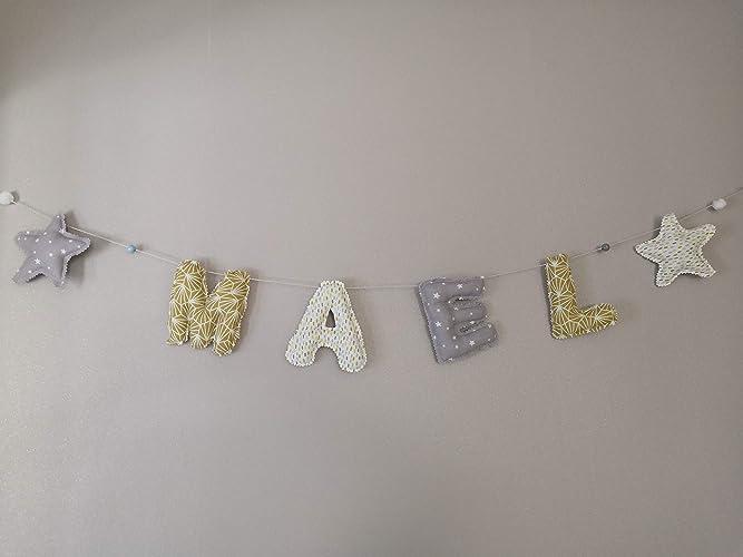 Guirlande prénom enfant décoration de chambre bébé cadeau de ...