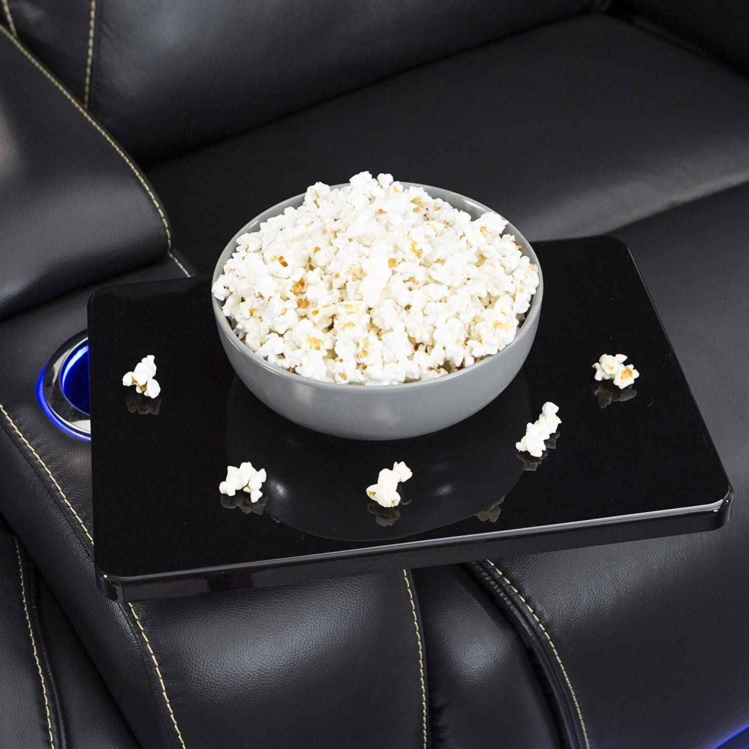 Seatcraft Equinox Home Theater Seating Power Recline Leather Row of 2, Black