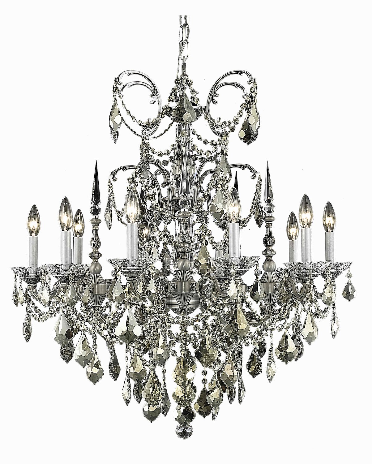 Athena Collection 10-Light Pewter Fix With Clear Swarovski Strass Crystal by Elegant Lighting