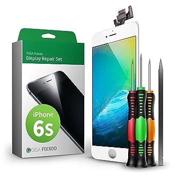 GIGA Fixxoo Kit Completo de Reemplazo de Pantalla iPhone 6s LCD Blanco; con Touchscreen,
