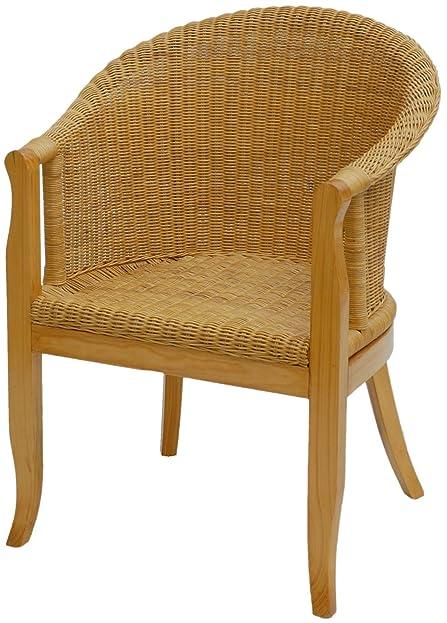 Rattan-Sessel mit Holzbeinen, Sessel aus echtem Rattan in der ...