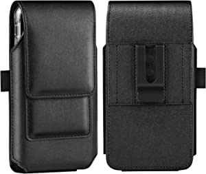 BECPLT iPhone 12 Pro Holster Case, iPhone 12 Belt Case, Leather Holster Case with Belt Clip Cell Phone Carrying Pouch for Apple iPhone 11 Pro iPhone Xs X 10 (Fit w/Thin Case on)(Black)