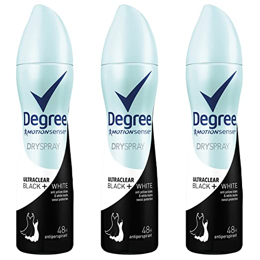 Degree UltraClear Antiperspirant Deodorant Dry Spray, Black + White, 3.8 oz, 3 count