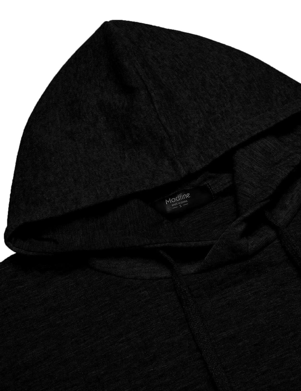 Coofandy Mens Sweatshirt Hipster Gym Long Sleeve Drawstring Hooded Plaid Jacquard Pullover Hoodies