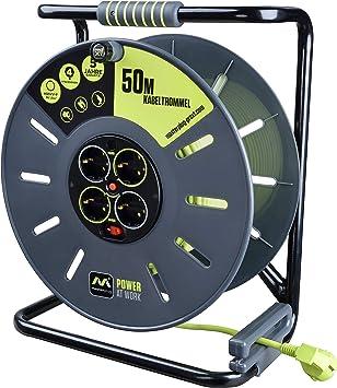 Masterplug Pro Xt Kabeltrommel Verlängerungskabel Mit 4 Steckdosen Wickelkurbel Thermoschutz Und Netzschalter 50 Meter Gut Sichtbares Kabel Baumarkt