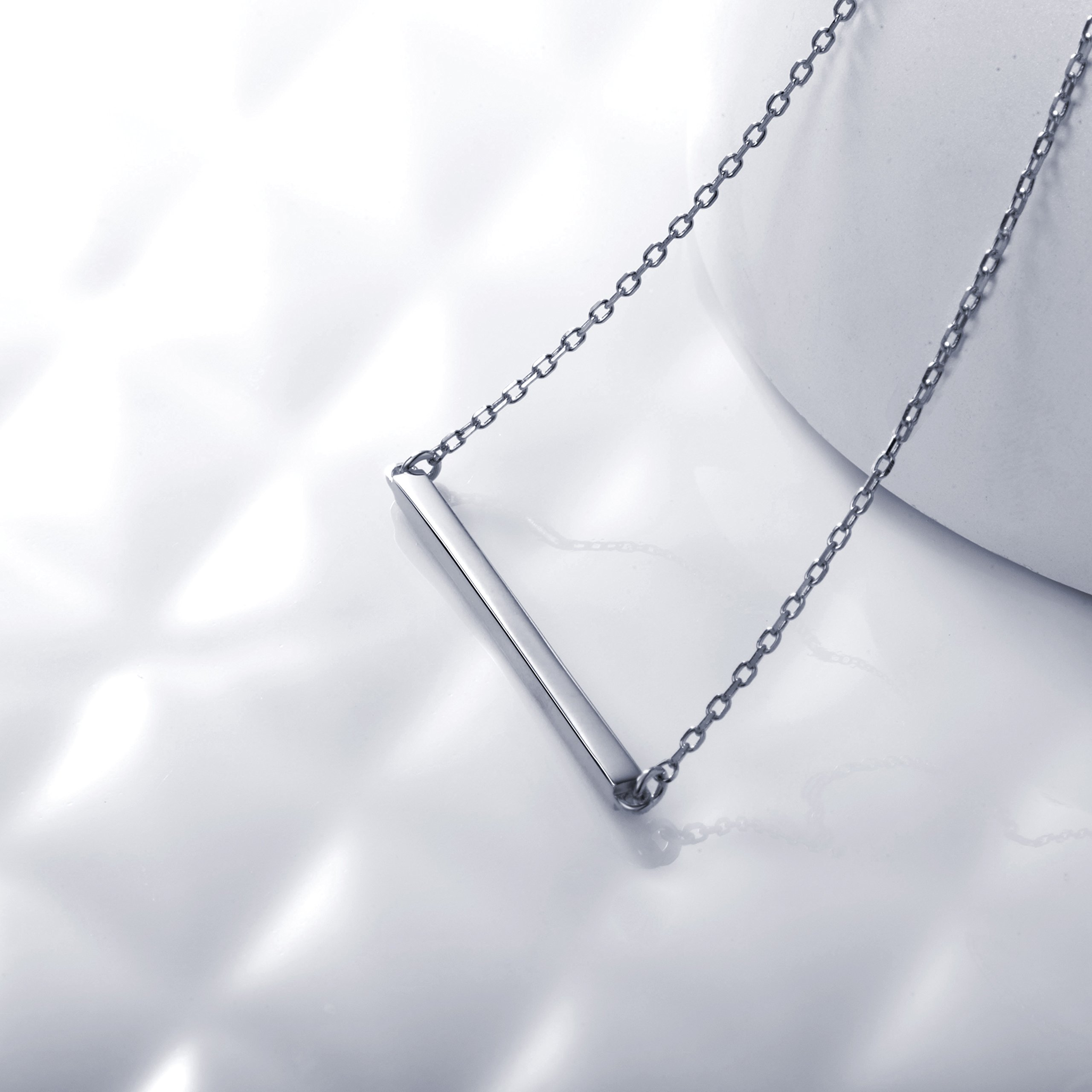 S.Leaf Bar Necklace Sterling Silver Minimalism Line Necklace Horizontal Bar Necklace (Necklace-White Gold) by S.Leaf (Image #2)