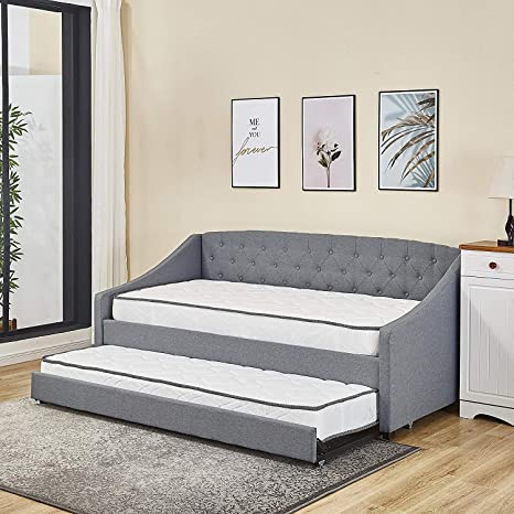 Amazing Kosy Koala Fabric Daybed Grey Colour With Underbed Trundle Living Room Bedroom Sofa Bed Grey Daybed Trundle 2 Mattresses Andrewgaddart Wooden Chair Designs For Living Room Andrewgaddartcom