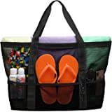 Packism Oversized Mesh Beach Bag 8 Pockets Beach Tote Travel Beach Toy Bag