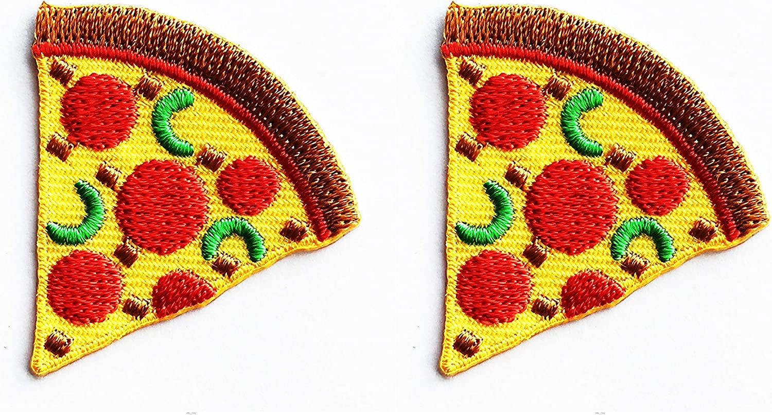 Classic sew on embroidered jean denim jacket bag hat backpack cheese food funny colorful cool patches Pepperoni Pizza Slice Iron On Patch
