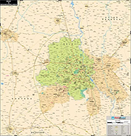 Synthetic Delhi Wall Map (68.5x76cm): Maps Of India: Amazon.in ... on