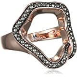 Small Rose Gold and Marcasite Open Flower Ring