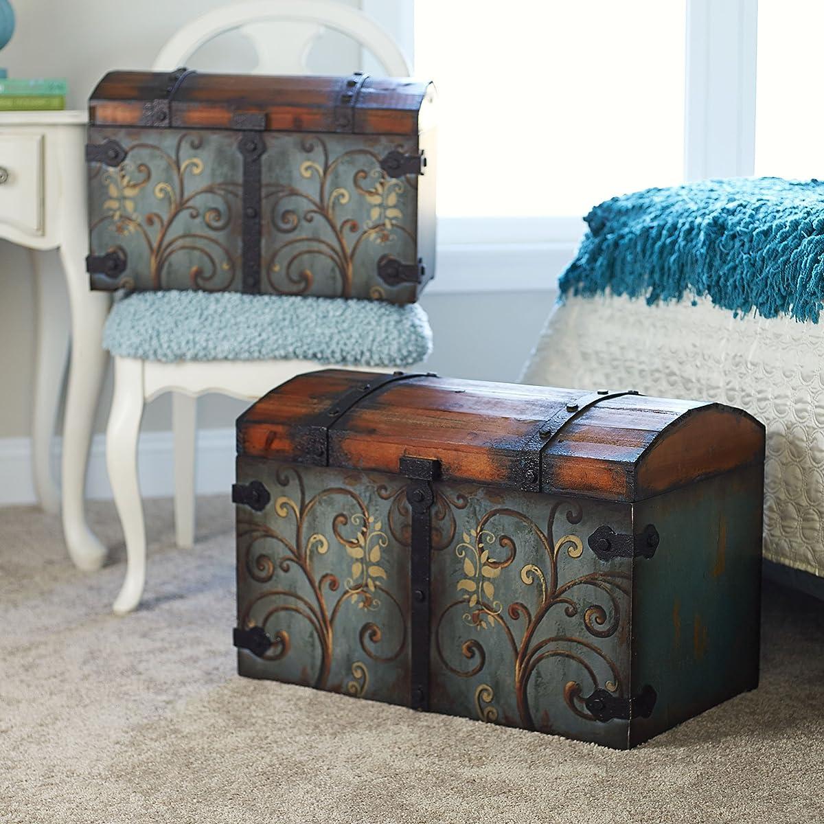 Household Essentials 9502-1 Vintage Wood Storage Trunk, Large, Blue Body/Brown Lid/Floral Design