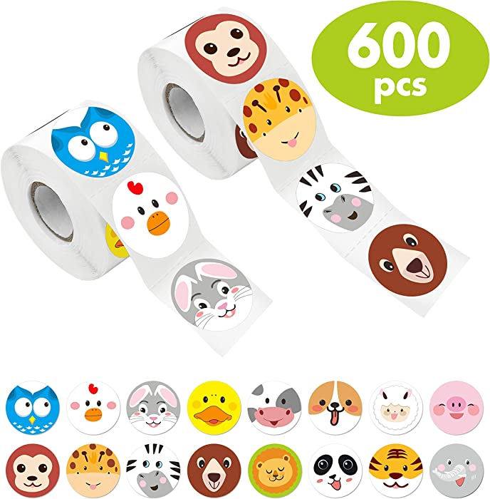"""Hebayy 600 Pcs Adorable Round Face Animal Stickers in 16 Designs with Perforated Line for Kids Party Favor (Each Measures 1.5"""" in Diameter)"""