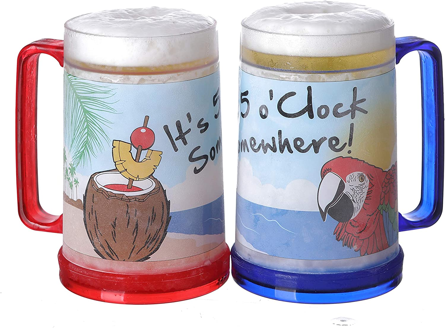 It's 5 O'Clock Somewhere Party Parrot Double Wall Gel Frosty Freezer Ice Mugs Clear 16oz Set of 2