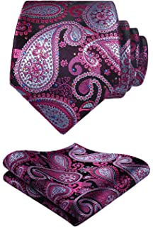 f5075ed97a0e HISDERN Paisley Floral Wedding Party Prom Tie Handkerchief Men's Necktie &  Pocket Square Set