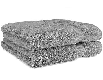 Toallas de baño de lujo de Cosy Homery - Juego de toallas 2 piezas gris - 100% algodón egipcio natural orgánico 650 GSM: Amazon.es: Hogar