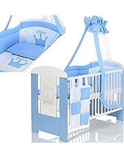 Lit Bébé Enfant 120x60 avec Matelas et Ensemble Literie 9 pieces; Blanc Blue