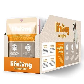 Marca Amazon - Lifelong Alimento completo para gatos adultos - Selección mixta en salsa, 2,4 kg (24 bolsitas x 100g): Amazon.es: Productos para mascotas