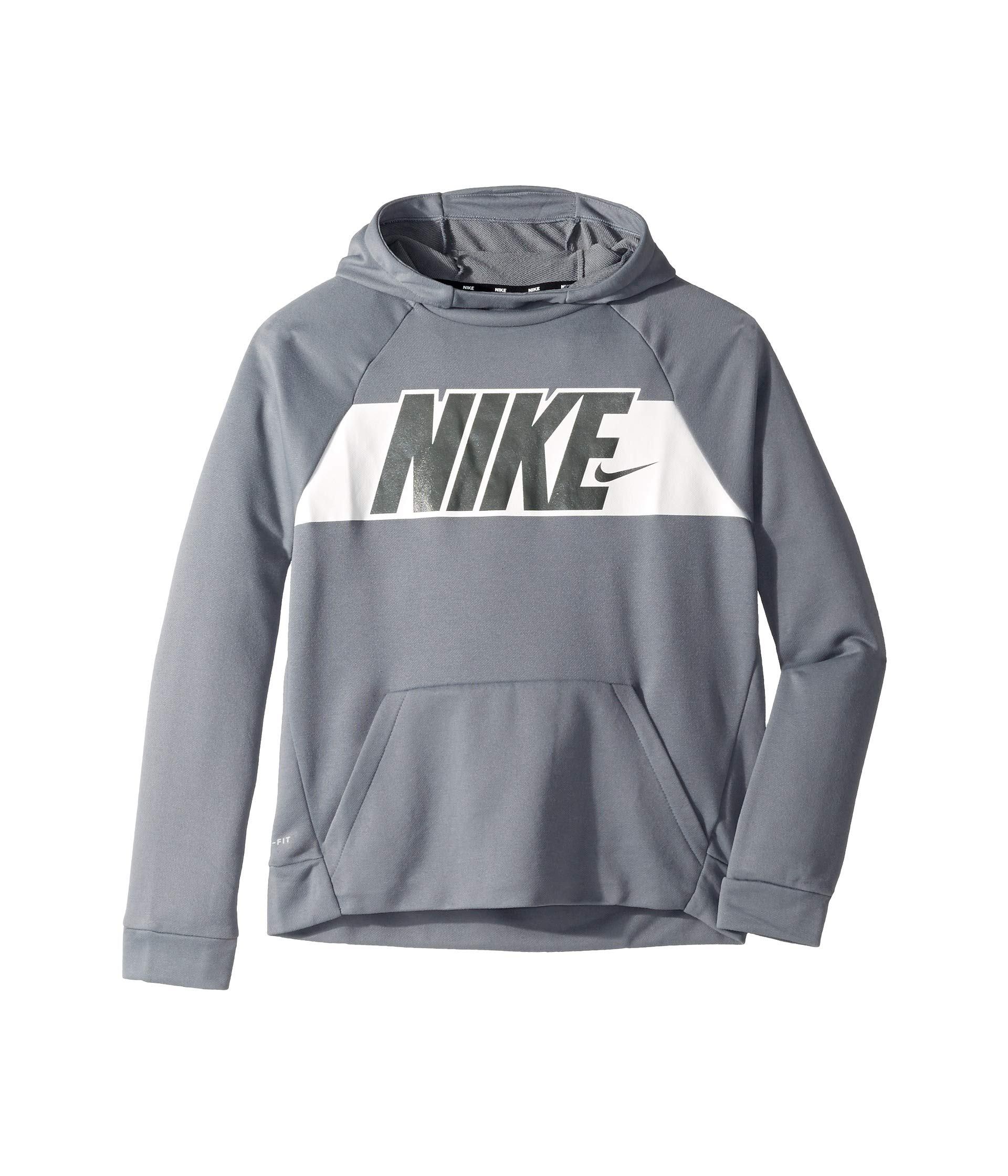 Nike Boy's Graphic Training Pullover Hoodie Cool Grey/White Size X-Large