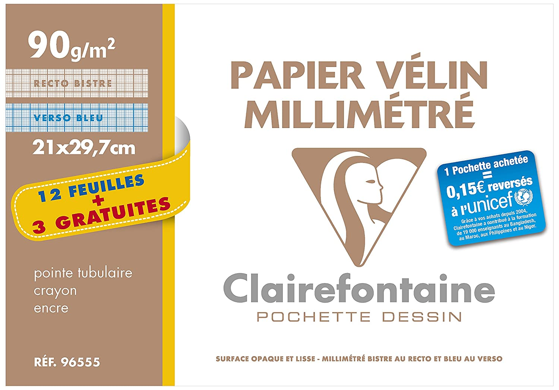 3 feuilles 21 x 297 mm Translucide Lot de 2 Clairefontaine Papier calque en pochette de 12