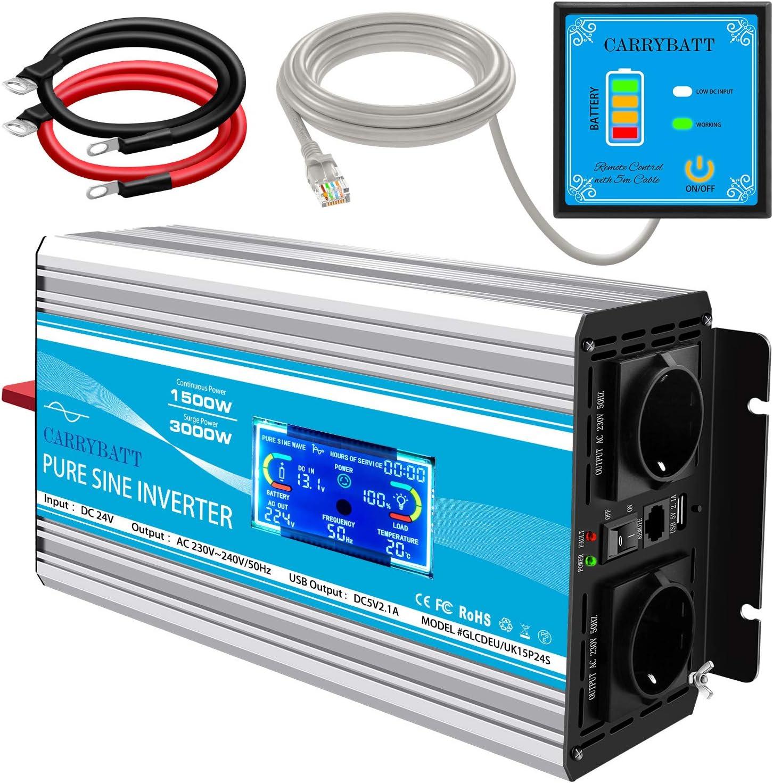 CARRYBATT Inversor de Corriente de Onda sinusoidal Pura 1500W/3000W Convertidor DC 24V a AC 220V 230V con Mando a Distancia & Salidas de AC duales y Puerto USB con Display/Pantalla LCD