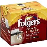 Folgers Classic Medium Roast Coffee Singles Serve Bags, 19 Count (Pack of 8)