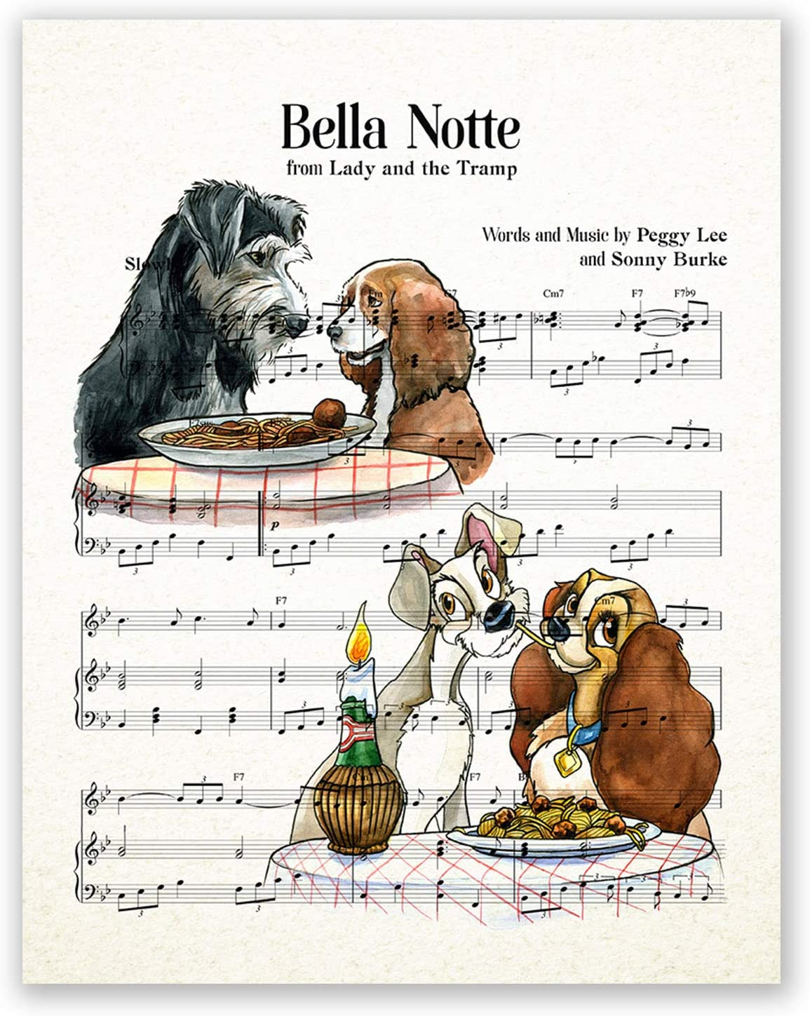 AtoZStudio Lady and The Tramp Poster - Music Sheet // Nursery Wall Art Decor Print // Baby Girl Bedroom Decoration // Watercolor Artwork // Birthday Picture (8x10)