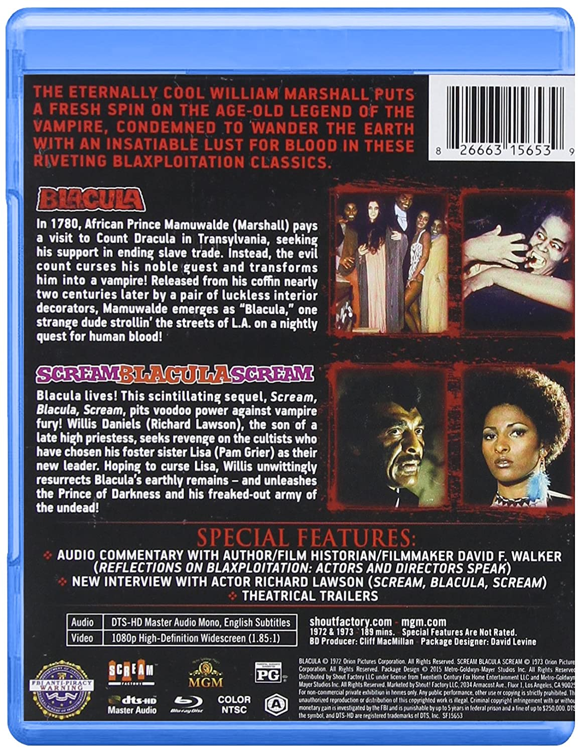 Amazon.com: Blacula / Scream Blacula Scream [Blu-ray]: William Marshall, William Crain: Movies & TV
