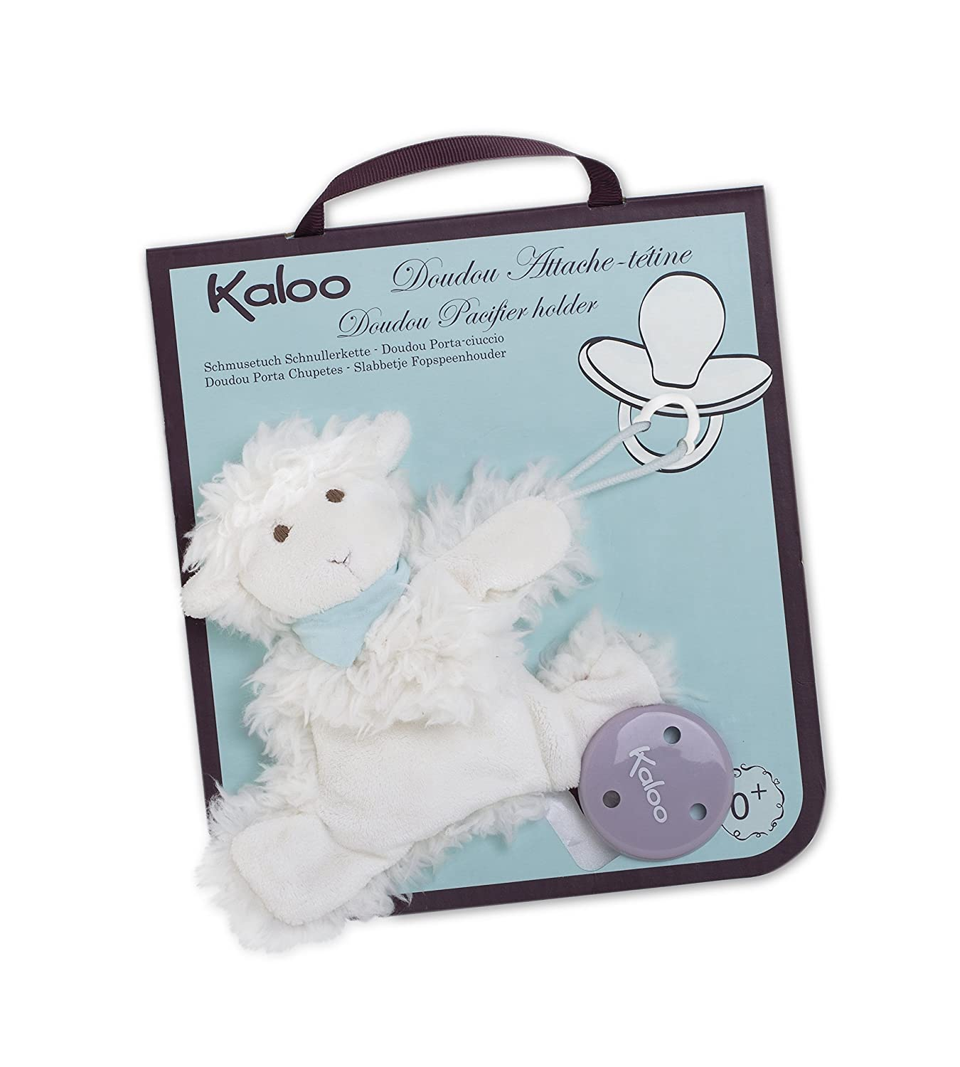Kaloo Les Amis Doudou Pacifier Holder Lamb Plush, Vanilla