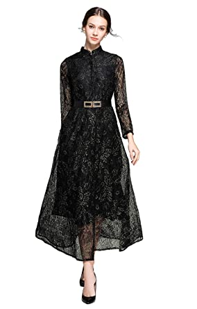 e512f57b3a6 Cocktail Dresses for Women Floral Lace A-line Midi Dress Whith Belt Black  and Gold