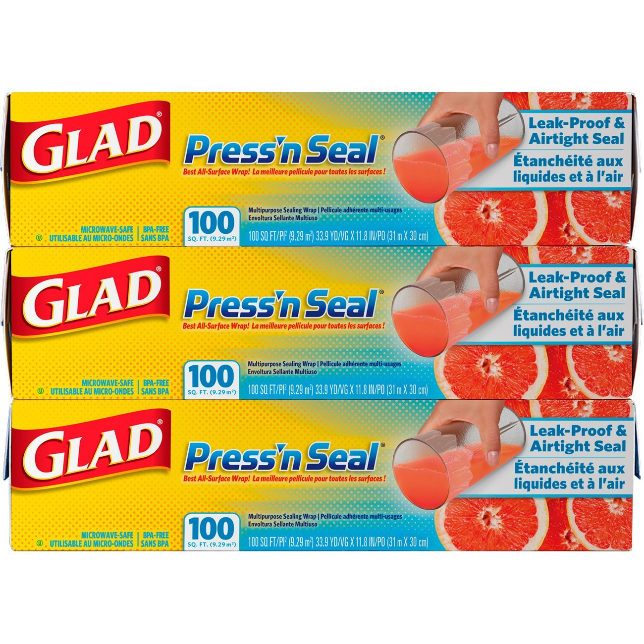 Glad Press'n Seal Food Plastic Wrap - 100 Square Foot Roll (Pack of 3)