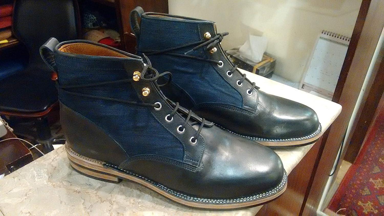 Handmade Black Leather \u0026 Denim Ankle