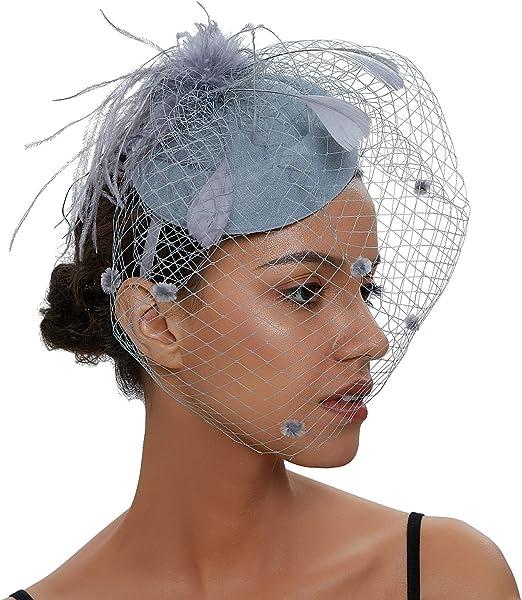 ilishop Cappelli Donna Fascinator Cappello Veil Looped Strips Fiore Piuma Hat